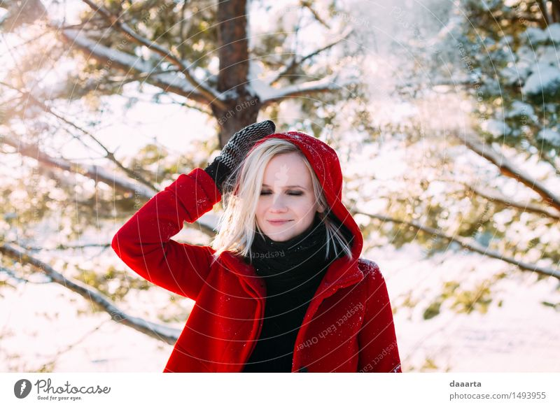 daydreaming winter Youth (Young adults) Young woman Relaxation Joy Winter Warmth Life Snow Feminine Style Playing Lifestyle Freedom Wild Leisure and hobbies Elegant