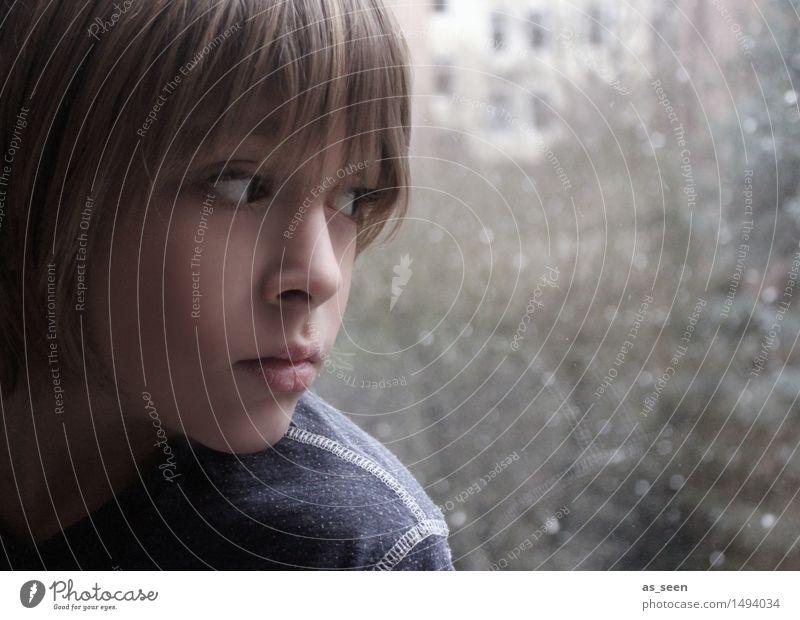 Human being Child Nature Blue Calm Winter Dark Window Face Environment Life Sadness Emotions Autumn Snow Boy (child)