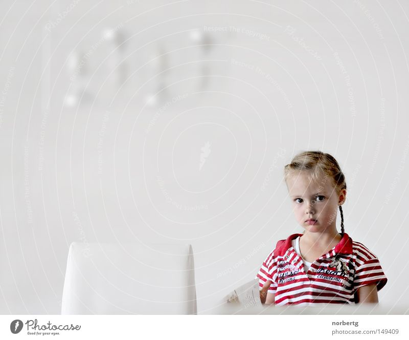 read Reading Child White Red Braids Striped Magazine To leaf (through a book)