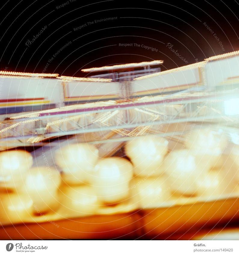 vertiginously Lamp Tall Rotate Theme-park rides Dark Summer Night Entrance Fairs & Carnivals Driving Electric bulb Festive Lighting Blur Large Joy Detail Dome
