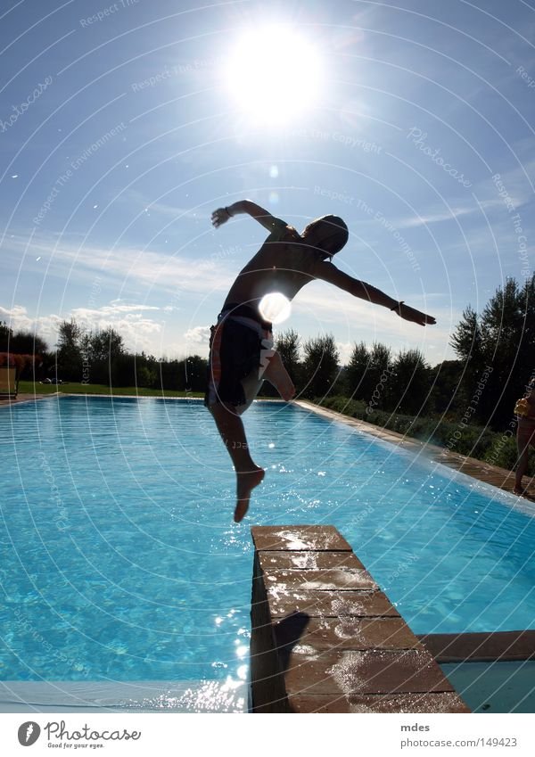 jump 2 Italy Tuscany Swimming & Bathing Swimming pool Jump Sun Nature Water Sky Blue Vacation & Travel Joy fun