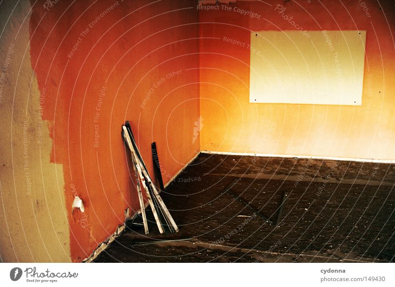 Loneliness Far-off places Dark Wall (building) Emotions Building Orange Room Background picture Signs and labeling Action Communicate Transience Education Painting (action, work) Tracks