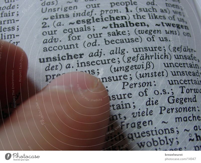 Uncertain Insecure Encyclopedia Book Fingers Hand lookup