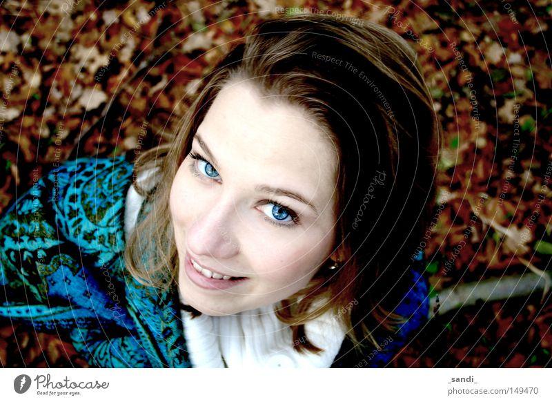 autumn impressions Leaf Woman Autumn Contrast Perspective blue eyes intense colours