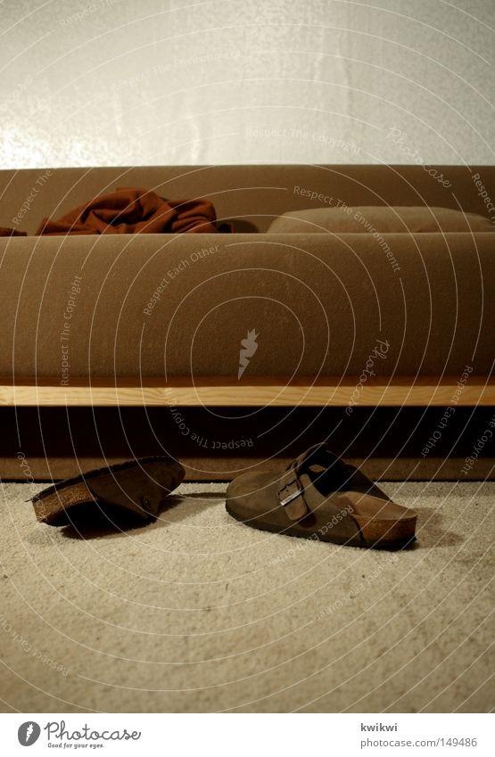 Loneliness Wall (building) Wood Footwear Brown Sleep Sit Lie Sofa Cloth Wallpaper Living room Cozy Blanket Carpet Beige