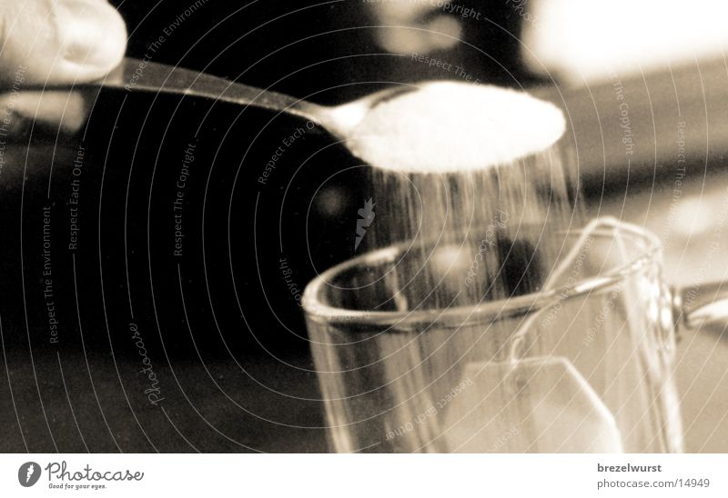 Sugar in tea Teabag Cup Cooking Black White Fingers Alcoholic drinks Glass Black & white photo Close-up