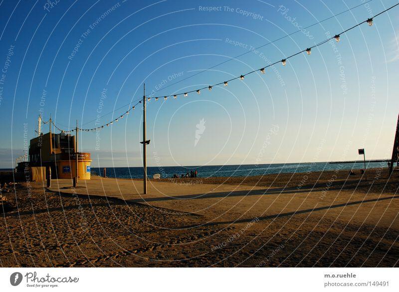 5.20 pm Barcelona Beach November Ocean Spain Fairy lights Beach bar Blue Yellow Sand Beautiful weather Autumn Coast Colour