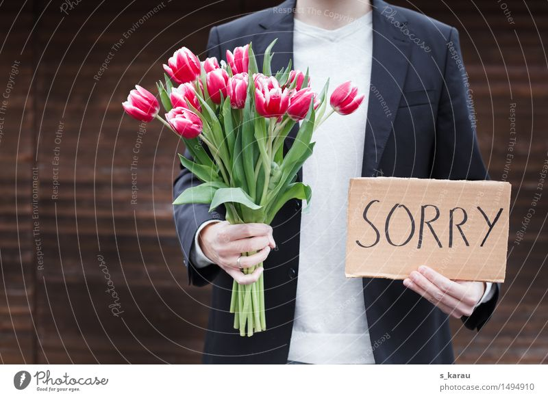 excuse Human being Masculine Partner Life Body Hand 1 Flower Tulip Paper Bouquet Cliche Emotions Vice Love Pain Disappointment Relationship Crisis Love affair