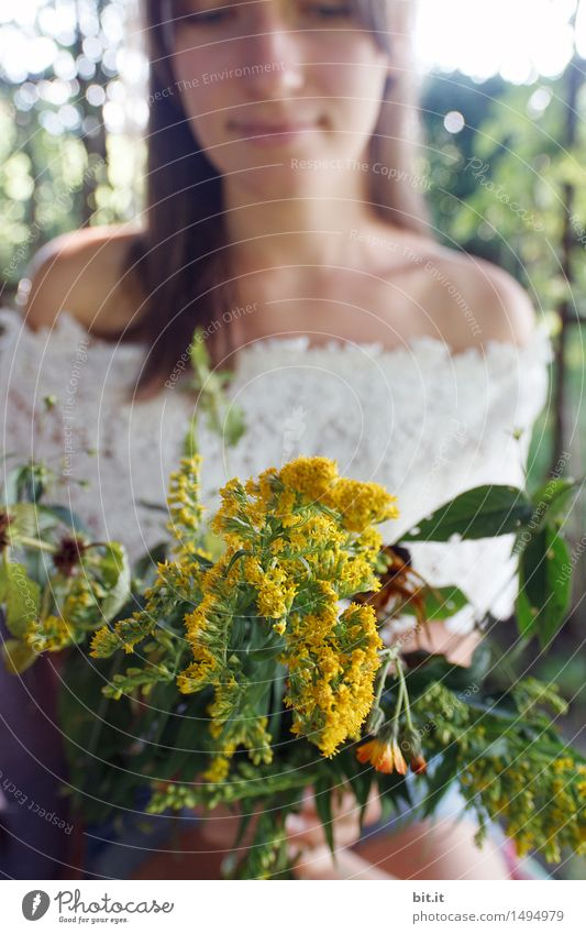 A bouquet full of summer Feminine Young woman Youth (Young adults) Adults Nature spring Summer Plant flowers luck Contentment Joie de vivre (Vitality)