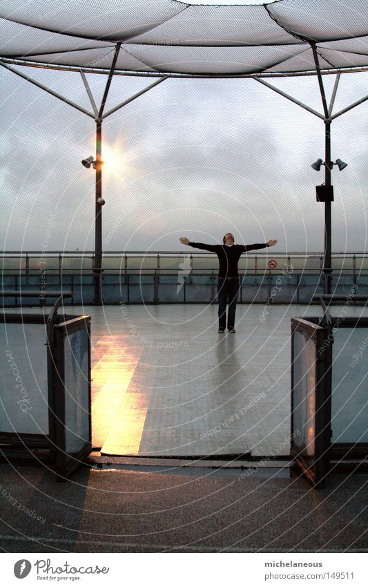 oh rainy day, come round Sky Symmetry Reflection Floodlight Stage lighting Handrail Scaffolding Arena Ice-skating High-rise Town Clouds Weather Force of nature