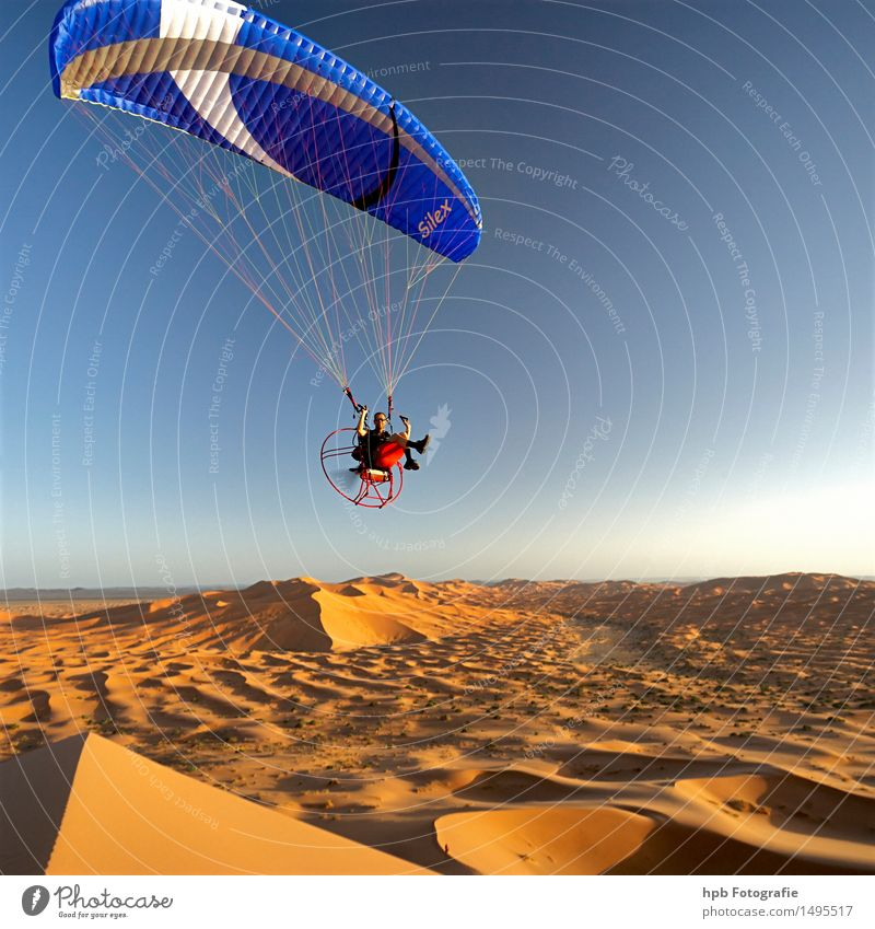 Flight in the Sahara Sports Nature Landscape Air Sun Summer Beautiful weather Warmth Desert Aviation Aircraft Sand Flying Athletic Exceptional Free Infinity