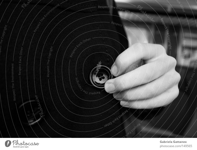 6:44 MORNING TRAIN Morning Railroad Buttons Resign Black White Undo Hand Fingers Train compartment Window Snow Dark Coat Black & white photo Vacation & Travel