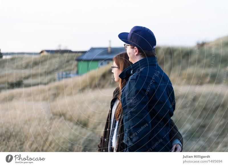 on the dune Vacation & Travel Far-off places Beach Ocean Human being Masculine Feminine Young woman Youth (Young adults) Young man 2 18 - 30 years Adults Nature