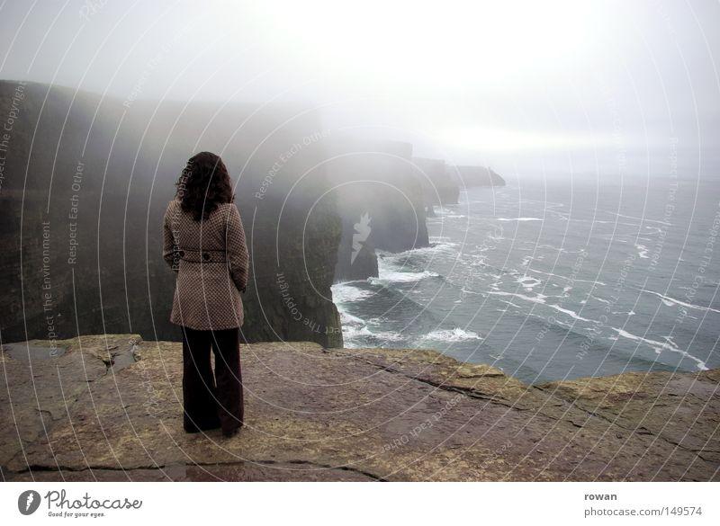 Ocean Beach Calm Clouds Far-off places Dark Sadness Think Coast Fog Rock Tall Wanderlust Mystic Cliff Steep