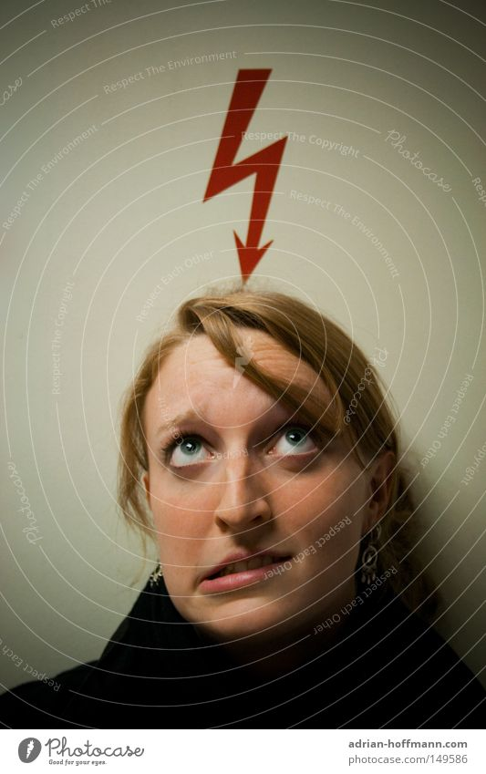 in brainstorms Lightning Red Woman Grimace Eyes Hair and hairstyles Blonde Thought Think Abrupt Electricity Dangerous Joy flash thunder