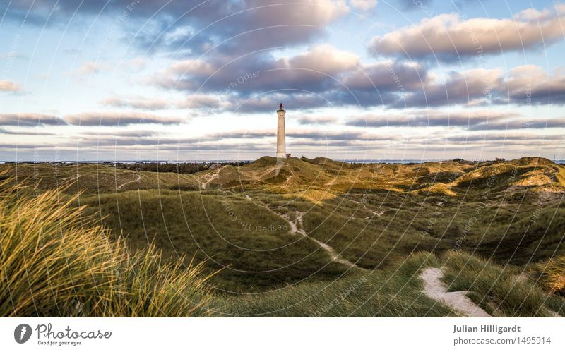 lighthouse Environment Wild Dune Lighthouse Nature How Lowland Vacation destination North Sea Relaxation Free Colour photo Exterior shot Deserted Evening