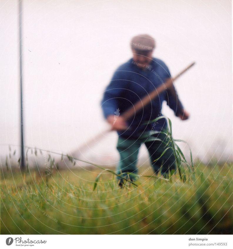 Man Green Senior citizen Grass Field Work and employment Analog Americas Craft (trade) Blade of grass Motion blur Feed Medium format Film Edge Roll film