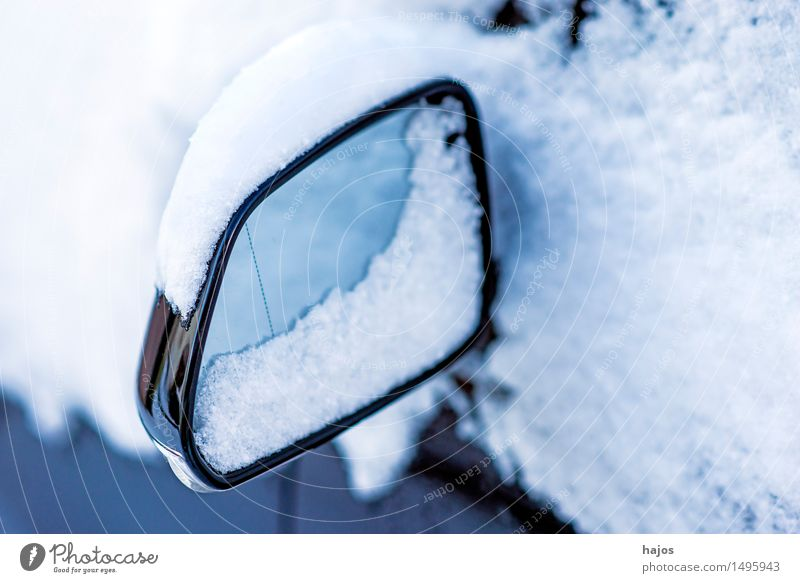 Snow on exterior mirrors Calm Winter Mirror Weather Transport Car White Idyll Alpina snowcap Rear view mirror car mirrors road conditions Stlileben Seasons