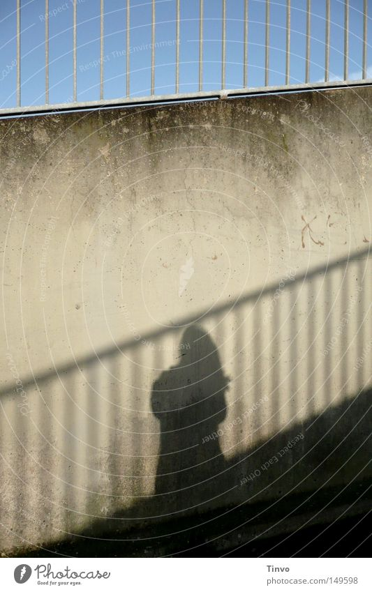 shadow on the wall Far-off places Freedom Human being Woman Adults Sky Wall (barrier) Wall (building) Concrete Line Above Under Loneliness Transience Upward