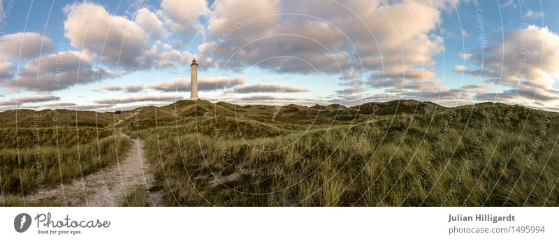 off Environment Adventure North Sea Dune Lighthouse Hope New start Lanes & trails Future Far-off places Deep Colour photo Deserted Day Twilight Panorama (View)