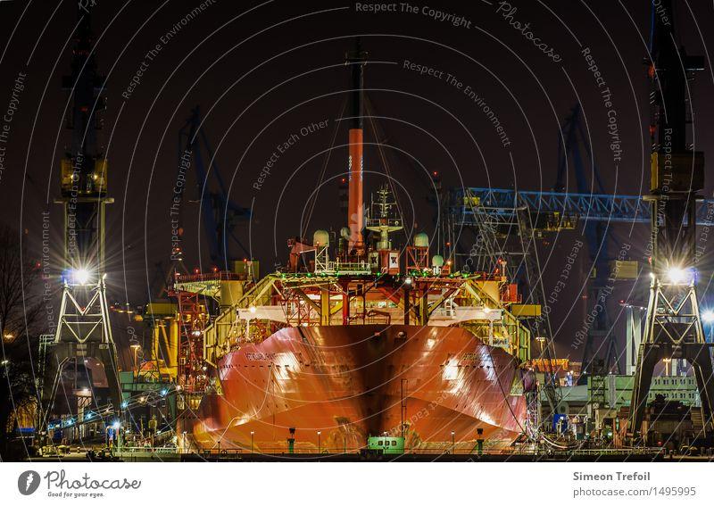 Hamburg hustle and bustle Vacation & Travel Tourism Night life Construction site Shipyard Technology Industry Port City Harbour Dockyard crane Navigation