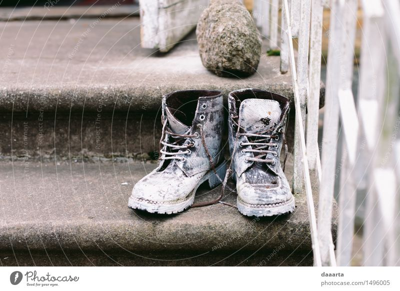 forgotten boots Joy Life Style Playing Lifestyle Freedom Stone Design Wild Stairs Leisure and hobbies Authentic Crazy Footwear Simple Adventure