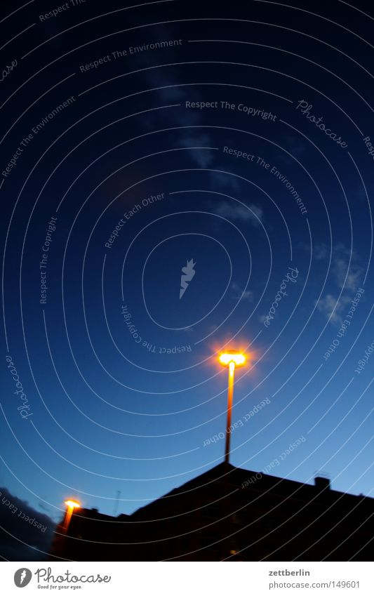 at night Lamp Lantern Lighting Street lighting Sky Night sky Blue Dark Clouds House (Residential Structure) Gable Town Detail Long exposure miracle lamp Aladdin