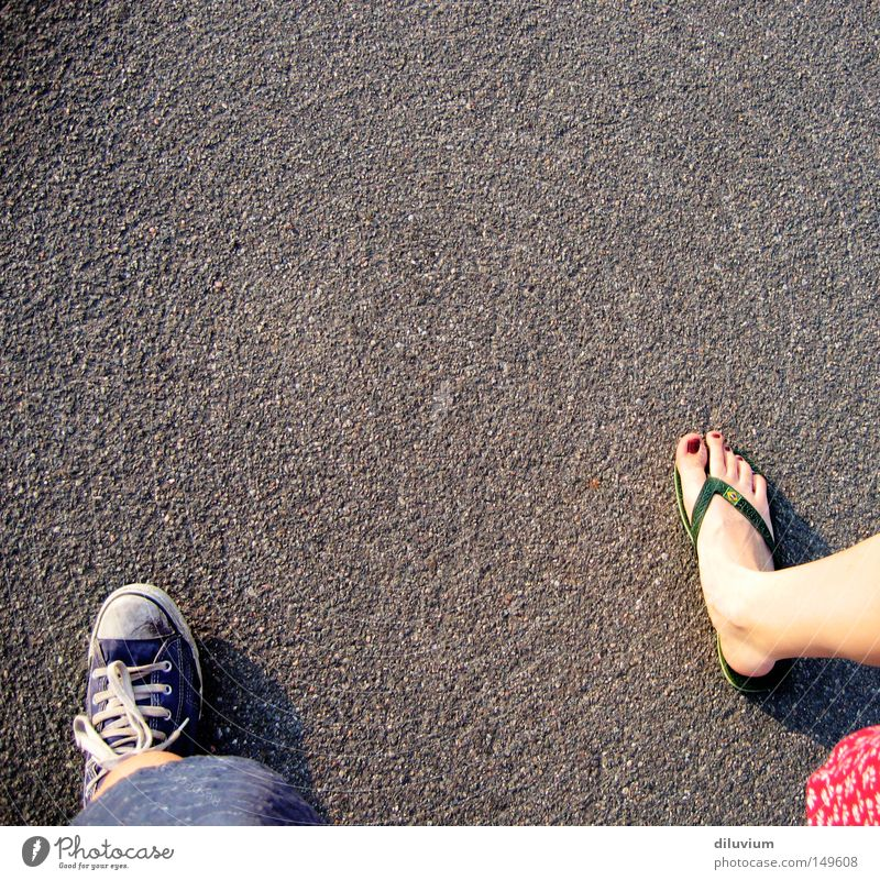 taking a walk Footwear Toes Summer Street Asphalt Chucks Flip-flops Youth (Young adults) Feet Barefoot