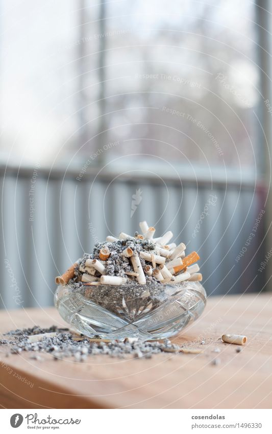 installation Illness Smoking Ashtray Cigarette Ashes Table Colour photo Subdued colour Copy Space top Central perspective