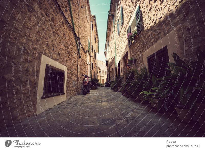 warmth Alley Narrow Canyon Stone Romance Oversleep Warmth Majorca Spain Town Small Town Vacation & Travel Village Summer Sky House (Residential Structure) Hot