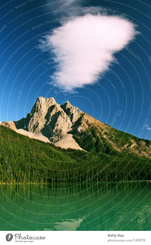 Water Sky Tree Green Blue Clouds Forest Mountain Lake Middle Americas Canada Lakeside Canoe Smoothness National Park