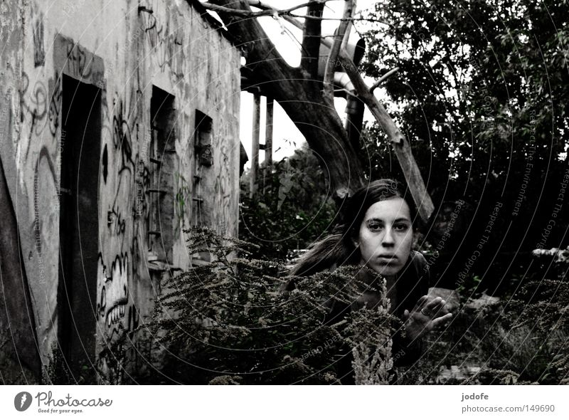 Woman Human being Nature Hand Tree Flower Plant Face House (Residential Structure) Loneliness Feminine Wall (building) Building Graffiti Fear Door