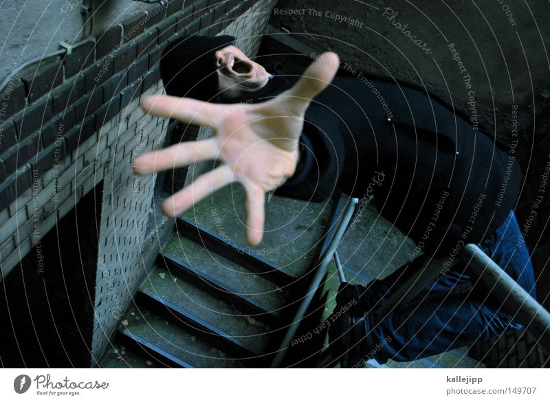 Human being Man Hand Fear Stairs Dangerous Threat To fall Stop Trust Scream Catch To hold on Cap Sudden fall