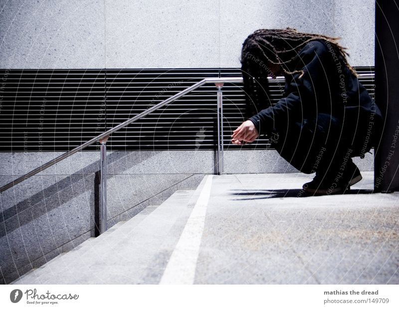 Man Blue White City Calm Loneliness Black Colour Dark Cold Wall (building) Death Wood Gray Lanes & trails