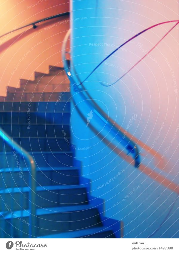 the big upswing Architecture Stairs Winding staircase Blue Orange Pink Beginning Perspective Upswing Swing Spirited Pastel tone Upward Banister Career Go up