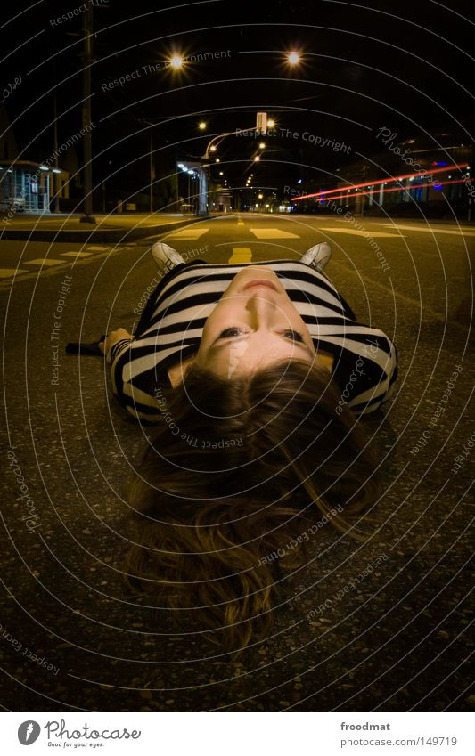 crosswalk Street Transport Night Long exposure Street lighting Woman Beautiful Attractive Striped Asphalt Switzerland Zebra crossing Light Dark Think Footwear