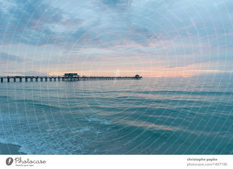Bridge over calm water Vacation & Travel Far-off places Freedom Summer Summer vacation Ocean Waves Naples Florida USA Kitsch Pastel tone Caribbean Jetty