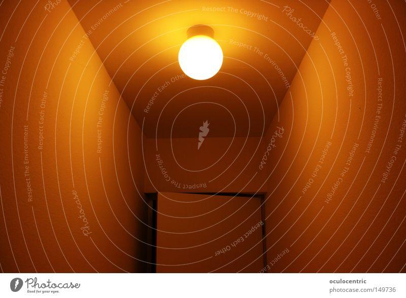 Far-off places Lamp Warmth Orange Door Corner Narrow Hallway Symmetry Entrance Zigzag Hospitality