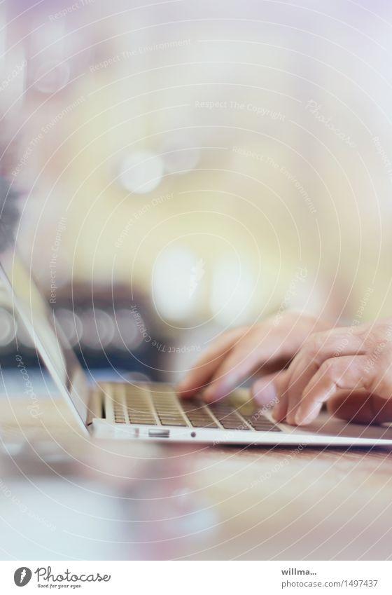 home office Workplace Office Media industry Business Computer Notebook Keyboard Technology Advancement High-tech Internet Online Hand Communicate Write Program