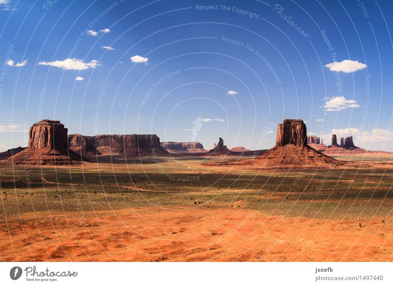 Monument Valley Vacation & Travel Tourism Landscape Sand Warmth Utah USA Hiking Uniqueness Blue Orange Red Adventure Colour photo Exterior shot Deserted Evening