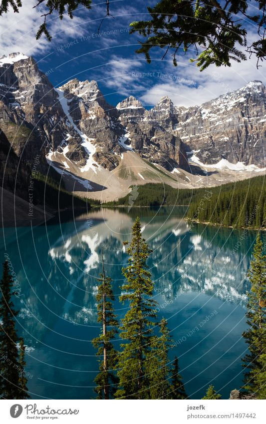 A Look Through The Trees At Moraine Lake Vacation & Travel Tourism Nature Landscape Water Summer Beautiful weather Forest Mountain Rocky Mountains Moraine lake