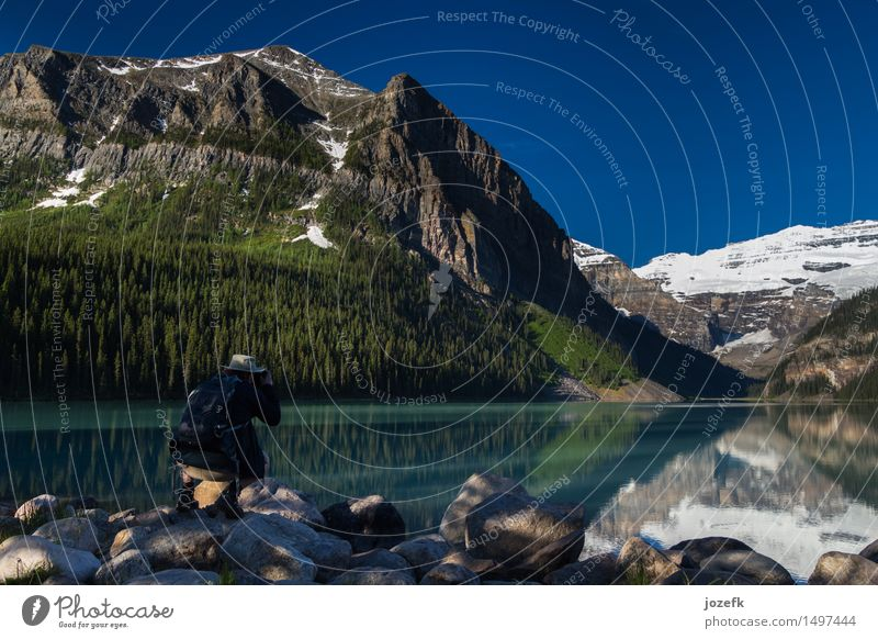 Lake Louise Vacation & Travel Tourism Adventure Mountain Hiking Man Adults 1 Human being 30 - 45 years Nature Landscape Forest Rocky Mountains Peak