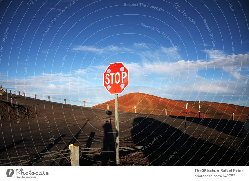 Sleeping Volcano Hawaii Stop Signs and labeling Mountain Observatory USA Americas Island Desert Street Fence Shadow Sky Moody Clouds Nature Events Vantage point