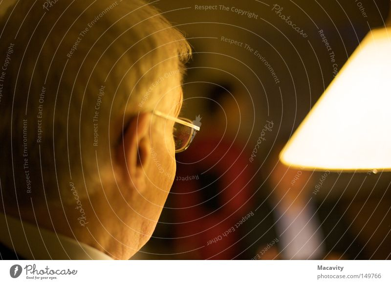 Man Old Calm Relaxation Head Senior citizen Hair and hairstyles Think Lamp Bright Contentment Masculine Eyeglasses Ear Observe Concentrate