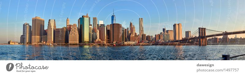 Manhattan panorama Sky Vacation & Travel City Blue Beautiful Summer Architecture Building Watercraft Orange Modern High-rise Bridge Money River USA