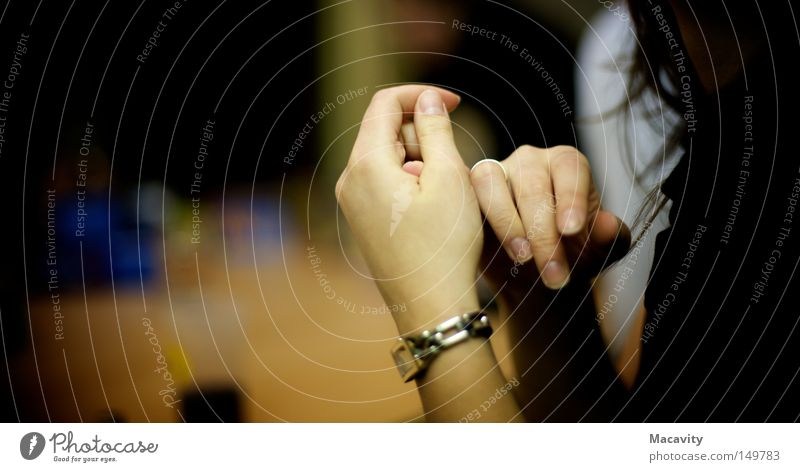 wringing one's hands Colour photo Artificial light Shadow Contrast Silhouette Shallow depth of field Luxury Elegant Beautiful Hair and hairstyles Manicure Clock