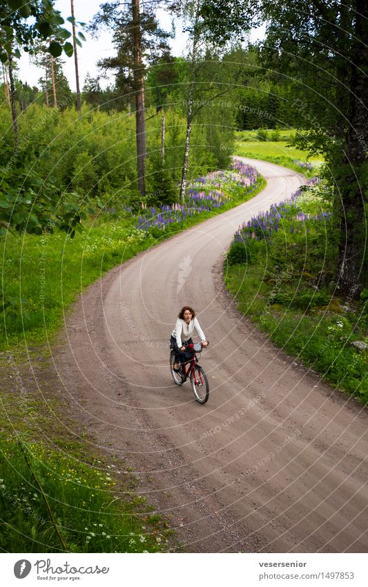 rita goes home Trip Cycling tour Woman Adults 1 Human being 45 - 60 years Landscape Summer Movement Relaxation Simple Healthy Cheap Natural Green Contentment