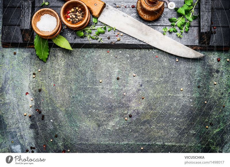 Delicious cooking background. Food Herbs and spices Nutrition Bowl Knives Style Design Healthy Eating Living or residing Table Kitchen Restaurant Yellow