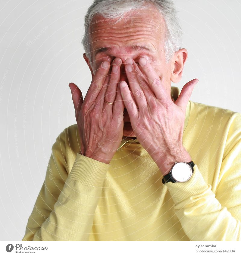 Man Hand Old Senior citizen Yellow Gray Sand Portrait photograph Time Sleep Human being Break Clock Transience Wrinkle Fatigue