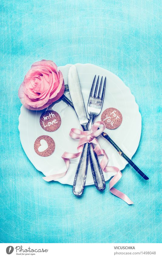romantic table setting with pink and heart Banquet Crockery Plate Cutlery Knives Fork Style Design Interior design Decoration Table Event Restaurant